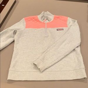 Vineyard Vine Pink/ Grey Shep Half Zip Sweatshirt